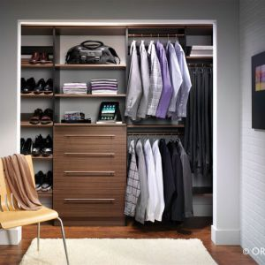 A Men's Reach In Closet Without Backs