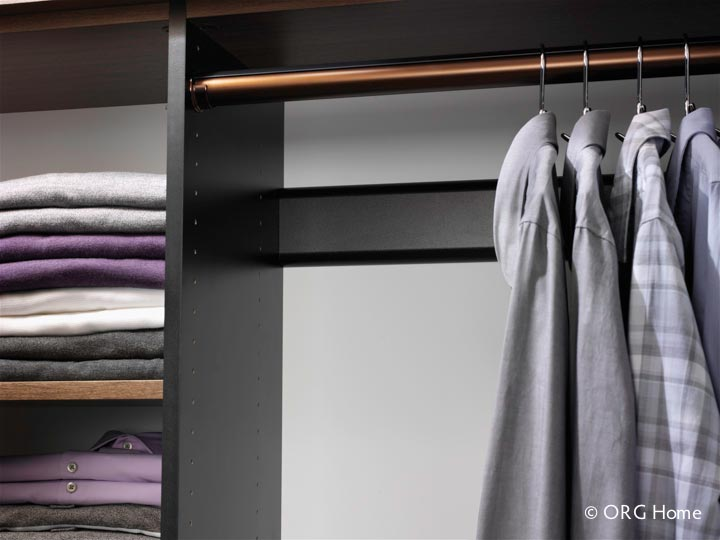 Oil Rubbed Bronze Wardrobe Rod In A Wall Mounted Closet Design   Innovate  Home Org Columbus