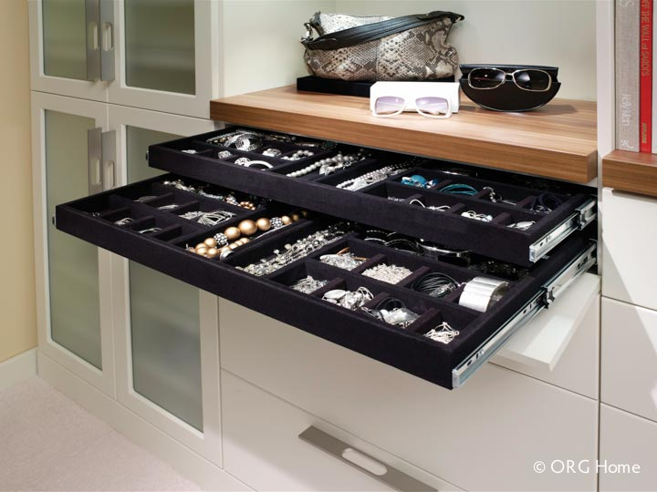 Two Level Slide Out Jewelry Tray For A Custom Closet Organization System Innovate Home Org