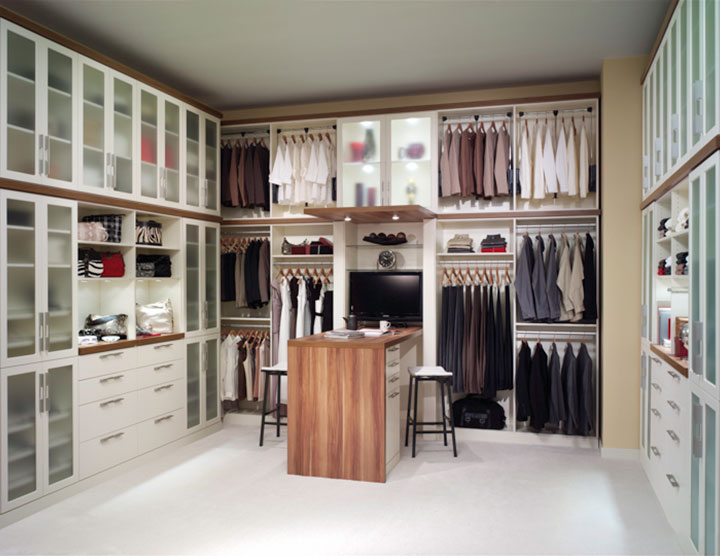 Superb 2 Inch Thick High End Closet Countertops In A Two Tone Custom Closet Design    Innovate