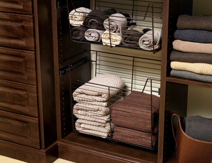 Wire Baskets In A Custom Closet Organizer System Innovate Home Org Columbus And Cleveland Ohio