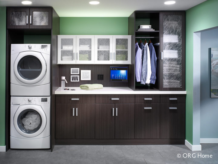 Caviar Wood Grain Finish Cabinets In A Laundry Room With Gl Doors