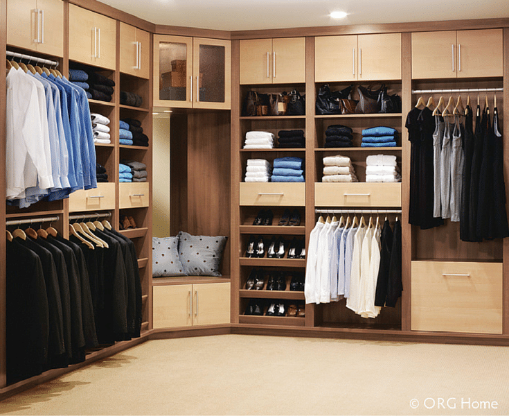 Laminate doors and drawers in a custom closet keep items concealed Innovate Home Org Columbus Ohio