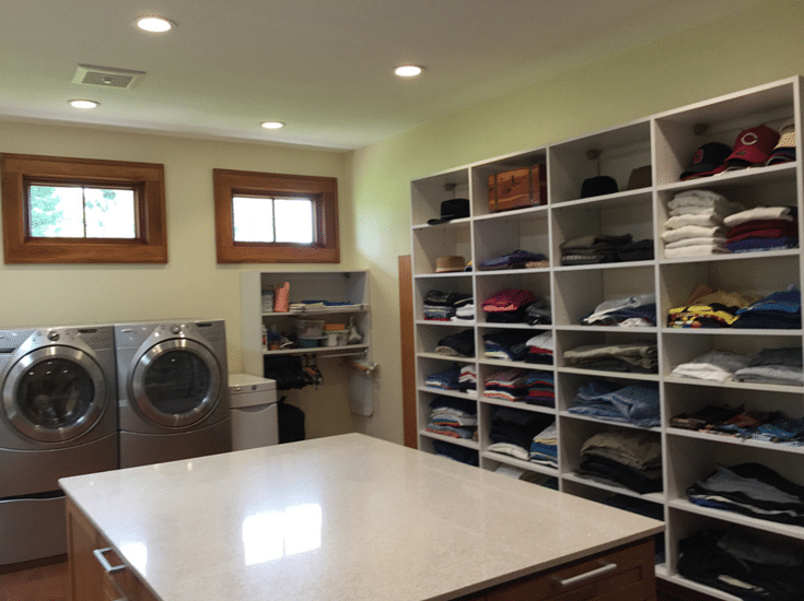 Combined universal design roll in closet and laundry room in Columbus home owners Rosemarie Rossetti and Mark Leder