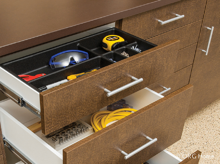 Garage workbench with drawers with divider trays for small item storage Columbus