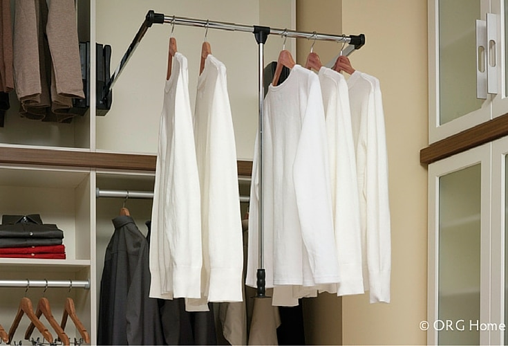 Pull down rod system to reach clothes on upper levels good for universal and accessible design walk in closets - Innovate Home Org Columbus Ohio