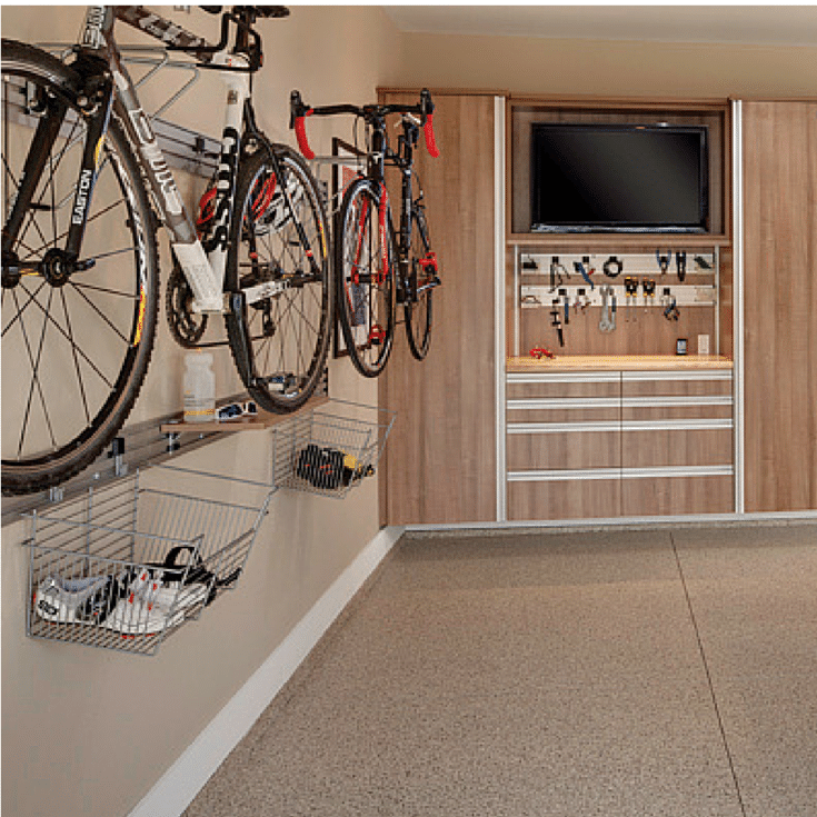 Hanging bike and basked storage for a garage - Innovate Home Org Columbus and Cleveland Ohio