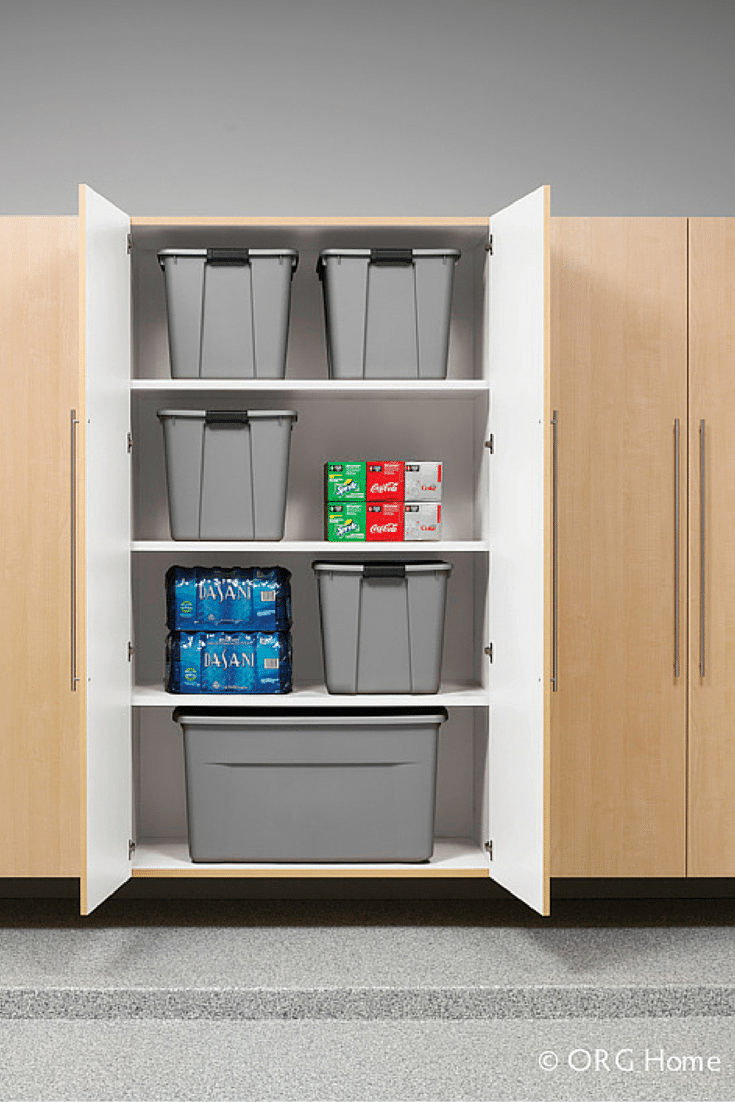 Garage cabinets with deeper storage for holiday decorations Innovate Home Org Cleveland and Columbus Ohio