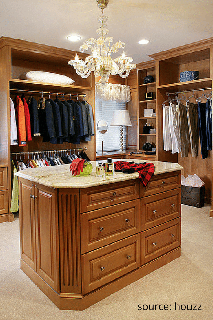 Granite countertop on a custom island walk in closet