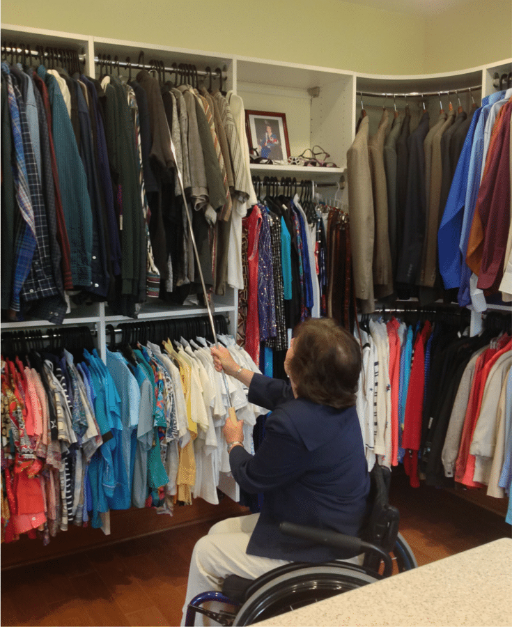 Wall hung closet in Gahanna ohio is wheelchair accessible