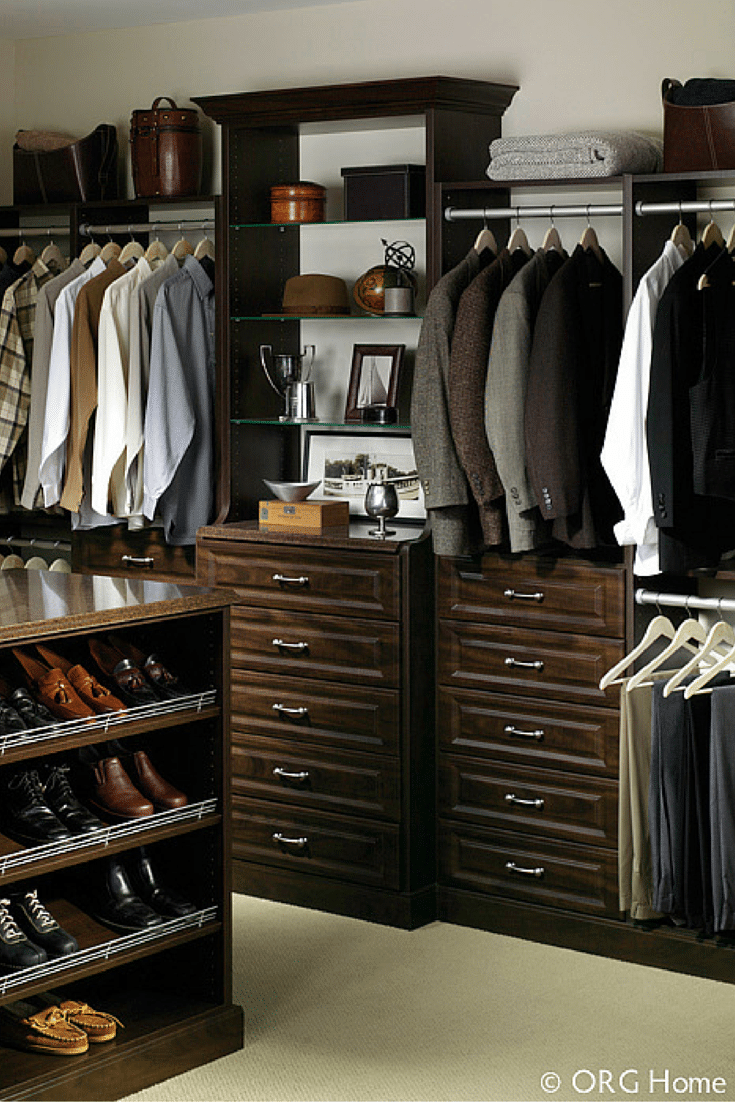 Deeper drawers provide more space in a floor mounted closet cabinetry system