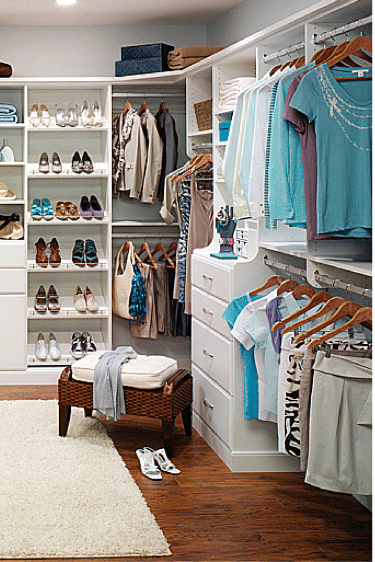 double hanging space in a closet