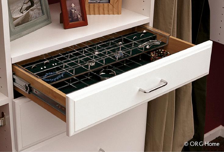 jewelry drawer in a reach in closet