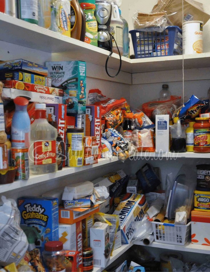 messy pantry before an organization project