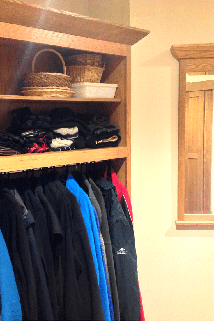 Roll in entryway closet in universal design home in columbus ohio