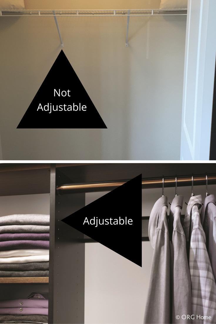 adjustable custom closet vs. unadjustable builders closet columbus