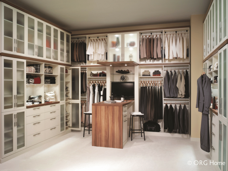 Elegant Custom Closet Design With Drawers Doors And Counter Space Colulmbus