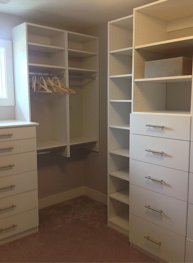 Closet drawers are centered in a premium closet design in Columbus Ohio.