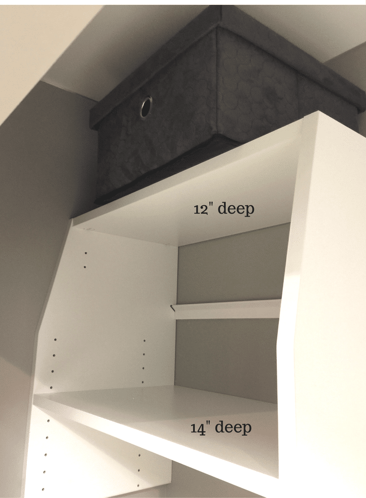 Custom reach in closet with shelves at different depths to make it easy to reach the top shelf for storage.