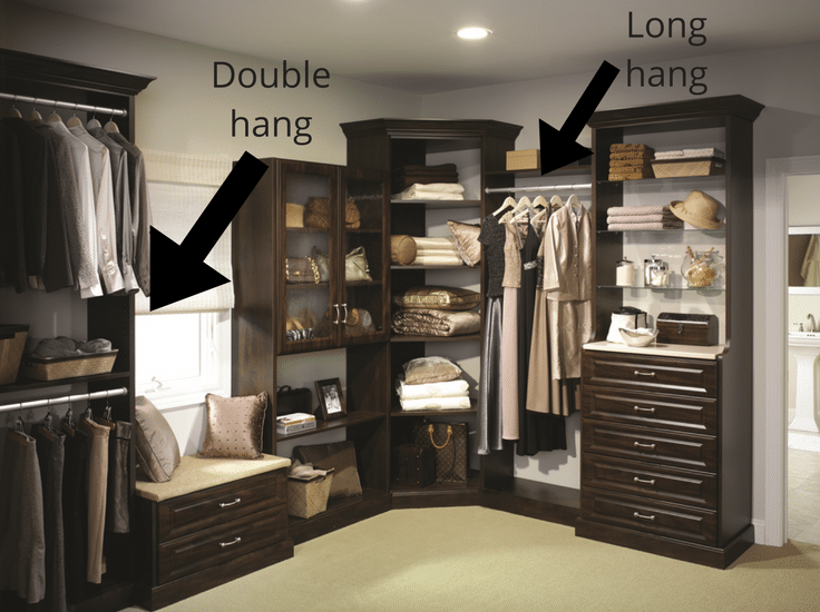 Double hang section for most storage single hang for long dresses in a columbus custom closet