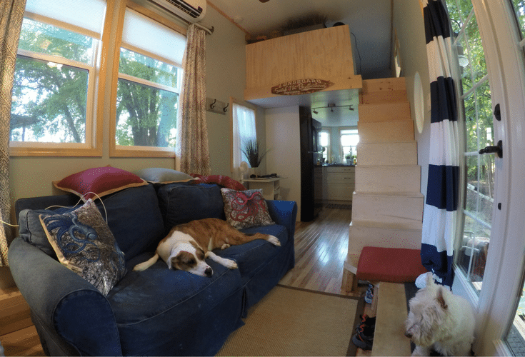 Lofted bedroom space in a luxury tiny home