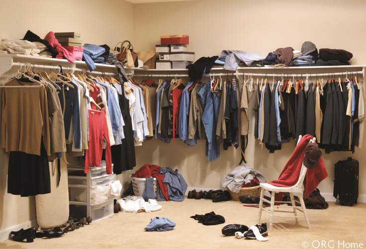 messy closet needing double hang space