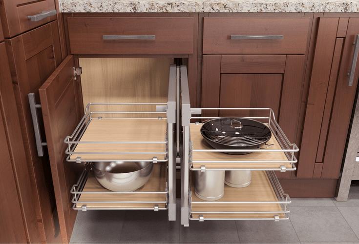 rectangular version of a lazy susan kitchen corner cabinet for improved storage