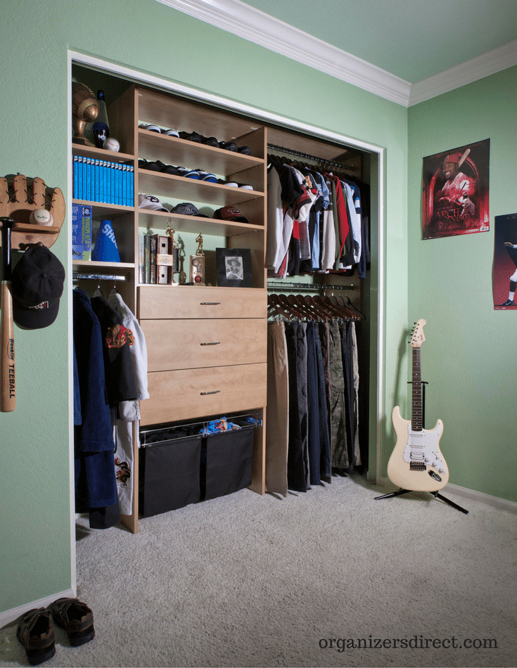 Flat Adjule Shoe Shelving In A Boys Reach Closet For Efficient Storage