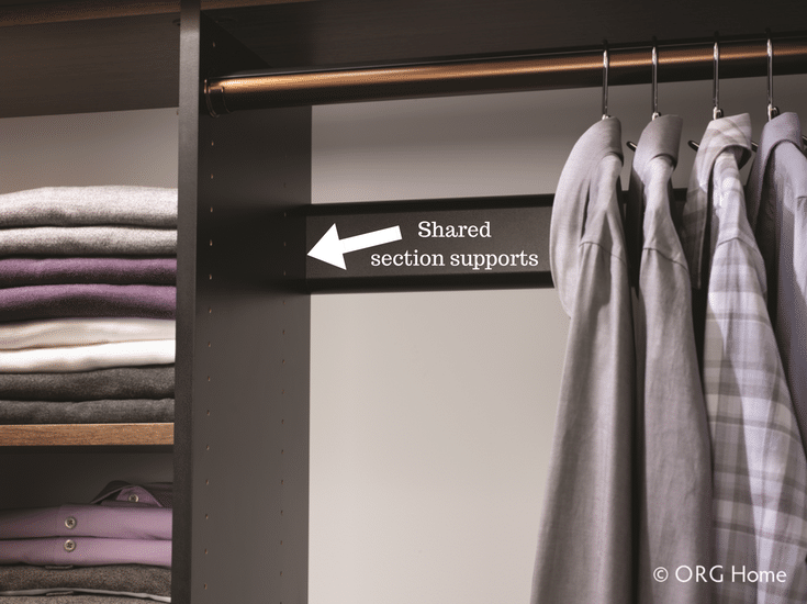 Laminate closet system with a wood grain finish with a single support between 2 sections. | Innovate Home Org