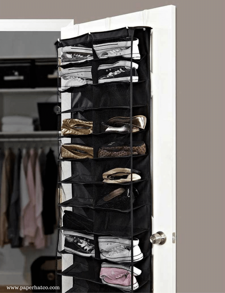 Over the door shoe organizer in a small Columbus closet