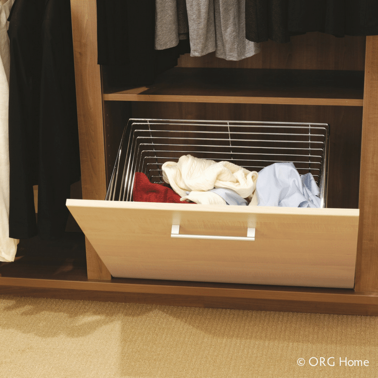 Fold down clothes hamper in a custom closet @InnovateBuild