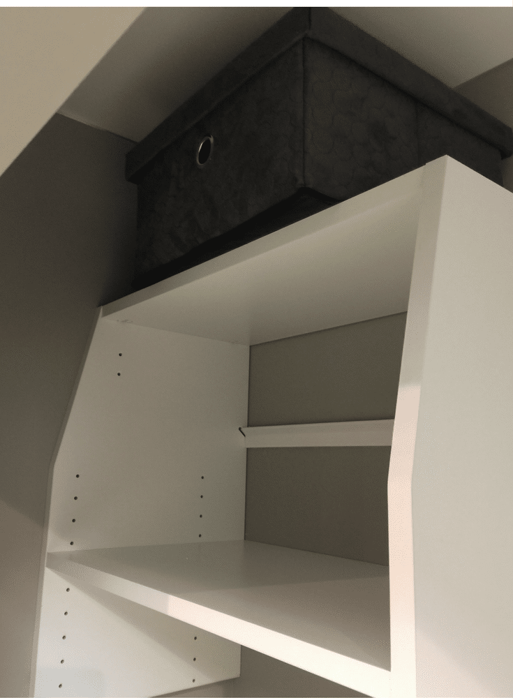 """Shallow 12"""" shelves in a custom reach in closet design 