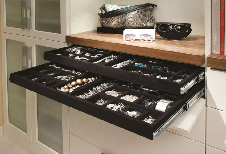 Two tiered velvet lined jewelry tray in a luxury Columbus Ohio closet | Innovate Home Org