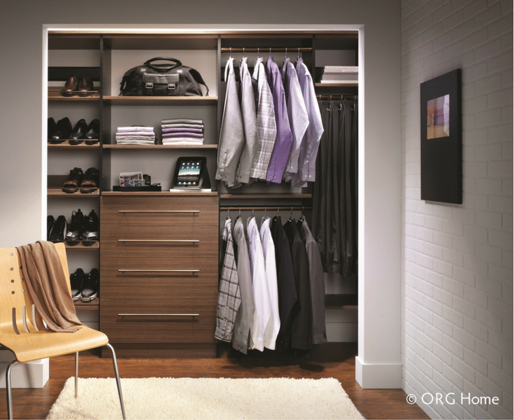 In this minimalist wall hung men's closet it's simple to find things. Innovate Home Org Columbus Ohio