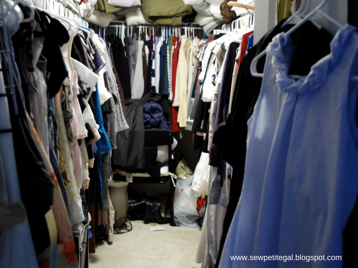 Cluttered closet which needs to be decluttered before a move to a Columbus 55+ community - Innovate Home Org Columbus Ohio