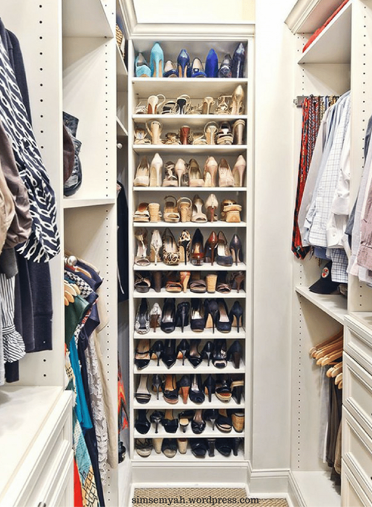 Flat adjustable shoes shelves improve storage solutions for a 55+ community in a walk in closet - Innovate Home Org Columbus Ohio