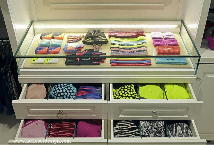LED lighting in a custom closet cabinet drawers is a good feature for 55+ communities - Innovate Home Org