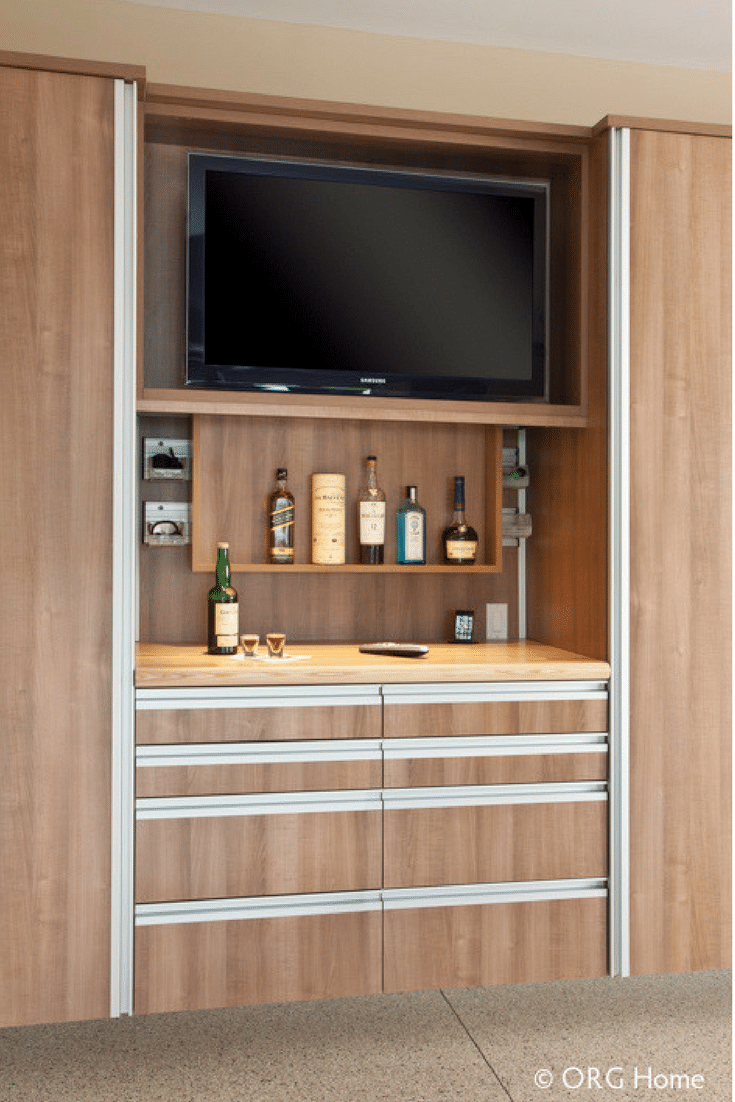 Entertainment Zone In Garage Wood Cabinets In Columbus Ohio Man Cave |  Innovate Home Org