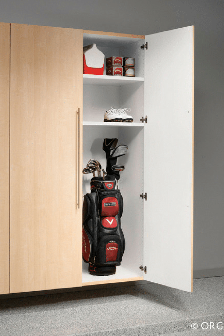 Extra tall custom wood garage cabinetry for golf club storage in Columbus Ohio | Innovate Home Org