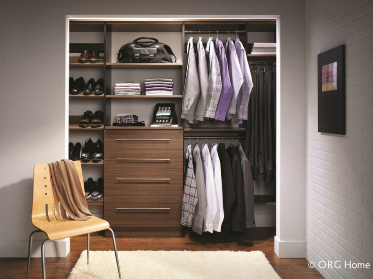 Minimalist modern closet organizer design in a reach in closet with wall hung Euro style cabinetry| Innovate Home Org Columbus Ohio