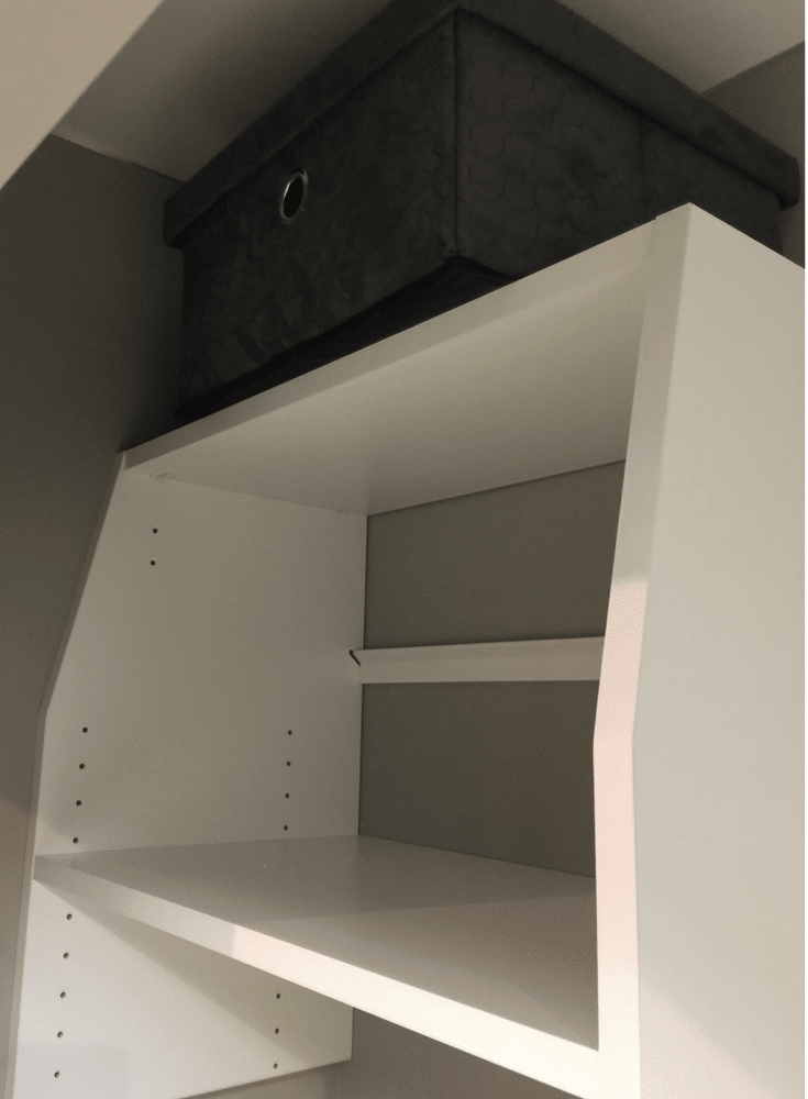 this vertical small closet organization system makes it easier to reach the top shelf of a reach in closet | Innovate Home Org Columbus Ohio