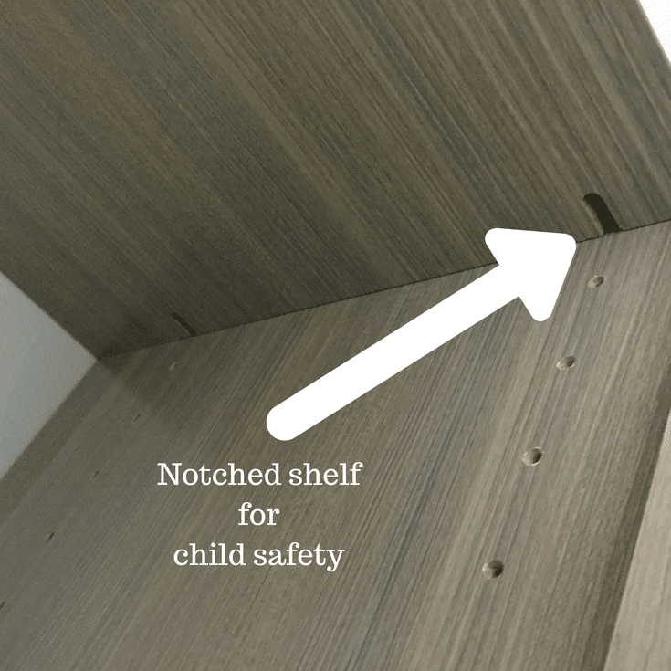A notched shelf has pins secured inside the notch for safety | Innovate Home Org Columbus Ohio