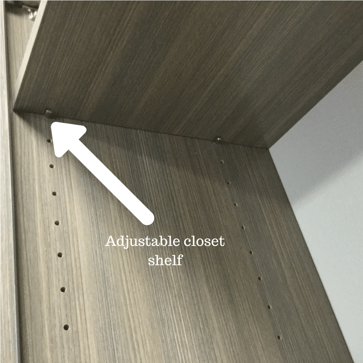 An adjustable closet shelf resting on pins | Innovate Home Org Columbus Ohio