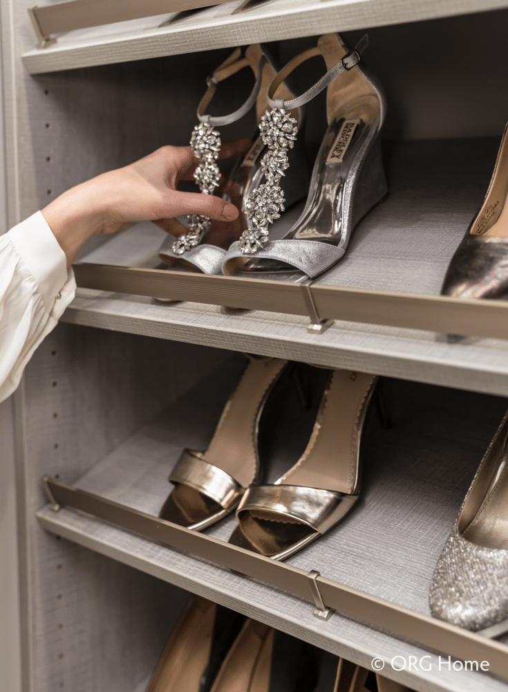 Angled shoe shelf storage is an elegant way for a woman to show off her heels - Innovate Home Org Columbus Ohio
