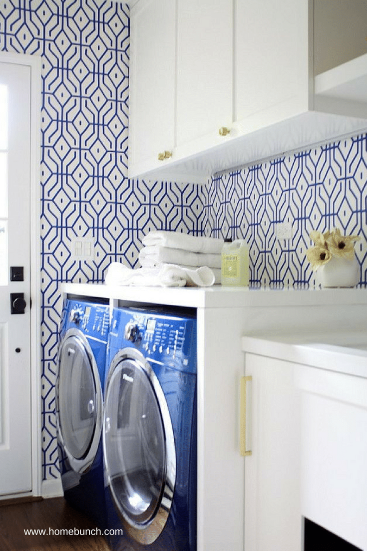 Decorative wallpaper to brighten up a laundry room - Innovate Home Org Columbus Ohio