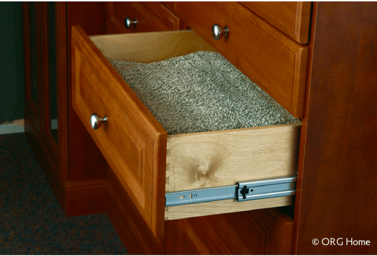 Dovetail bedroom closet drawer boxes are sturdy and safer with slow close operators | Innovate Home Org Columbus Ohio