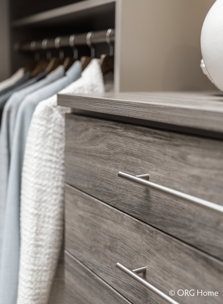 Laminate custom closet drawers with a real wood grain finish - Innovate Home Org Columbus Ohio