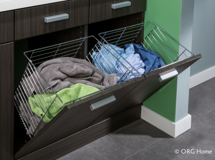 Pull out laundry room hampers for organization - Innovate Home Org Columbus Ohio