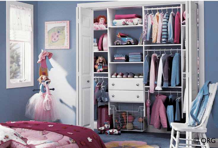 Slide out baskets for toys in a kids reach in bedroom closet | Innovate Home Org Columbus Ohio