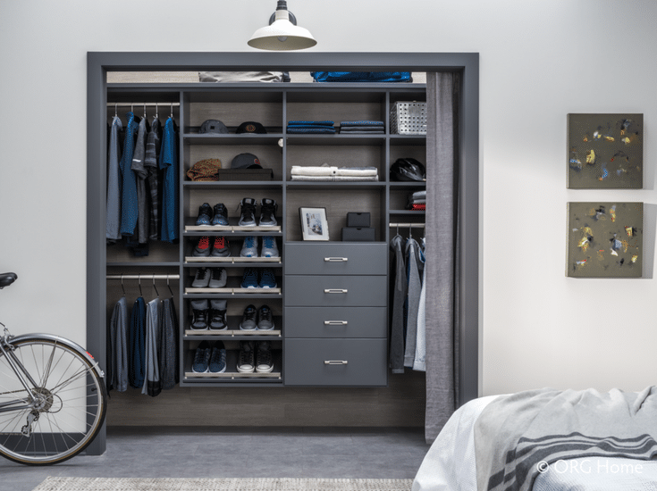Wall mounted men's closet for a sleek minimalist look - Innovate Home Org Columbus Ohio